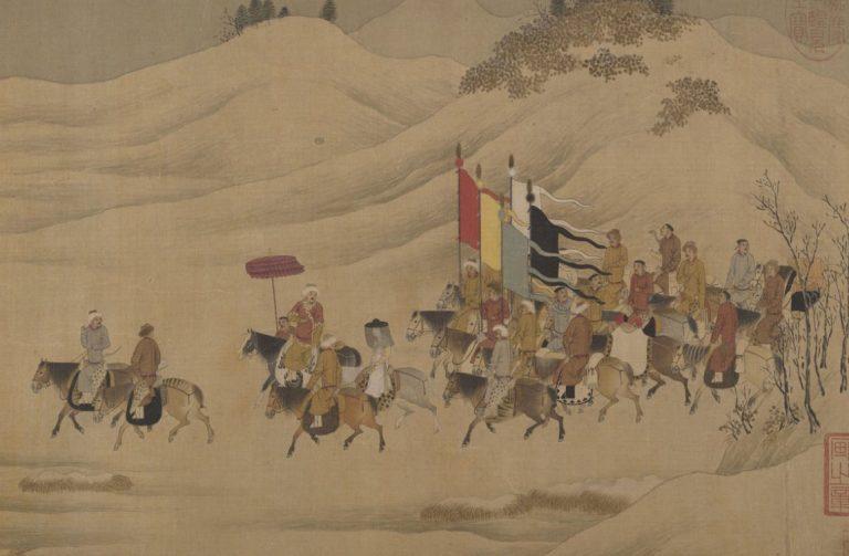 Cai Wenji in partenza dalla Cina. Una delle pergamene nel Metropolitan Museum of Art.