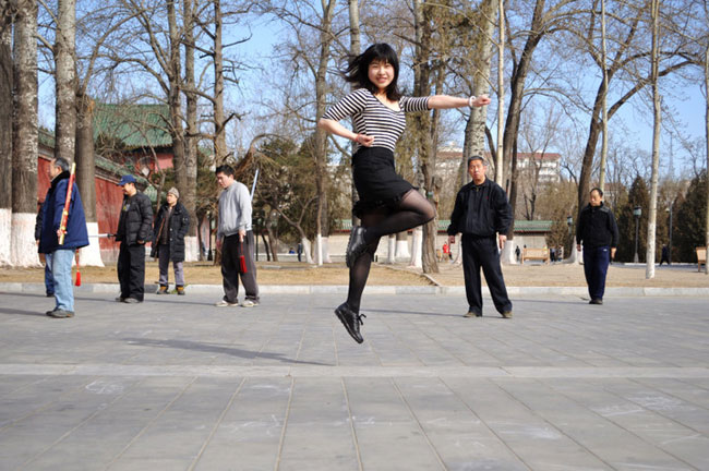 Floating girl in Beijing