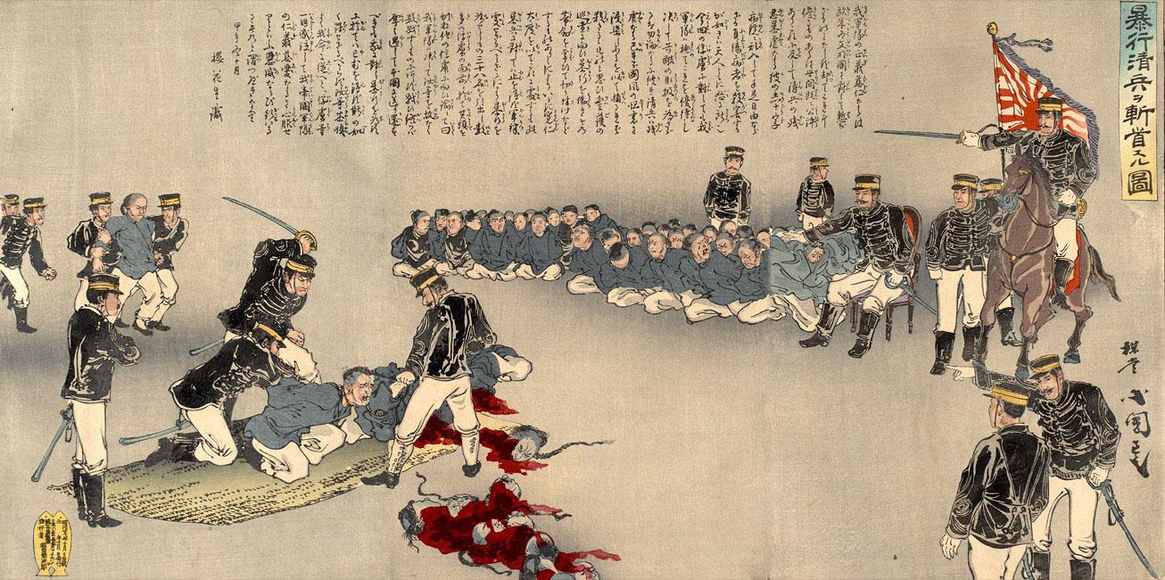 Soldati giapponesi decapitano 38 cinesi come avvertimento di Utagawa Kokunimasa