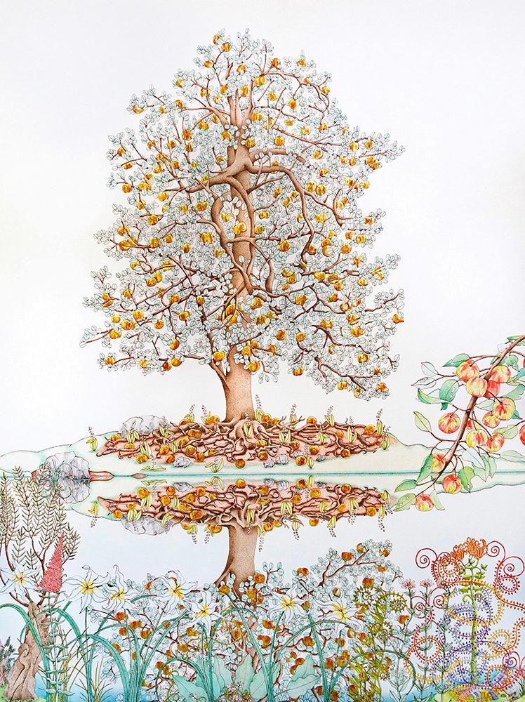 Michael Eade, Tree of Life Reflected - Albero della vita riflesso, 2018. Tempera all'uovo, foglia d'oro 22k sollevata, foglia alluminio rialzata, olio su tela, 48 x 36 pollici © Michael Eade, Immagine cortesemente concessa da Fou Gallery