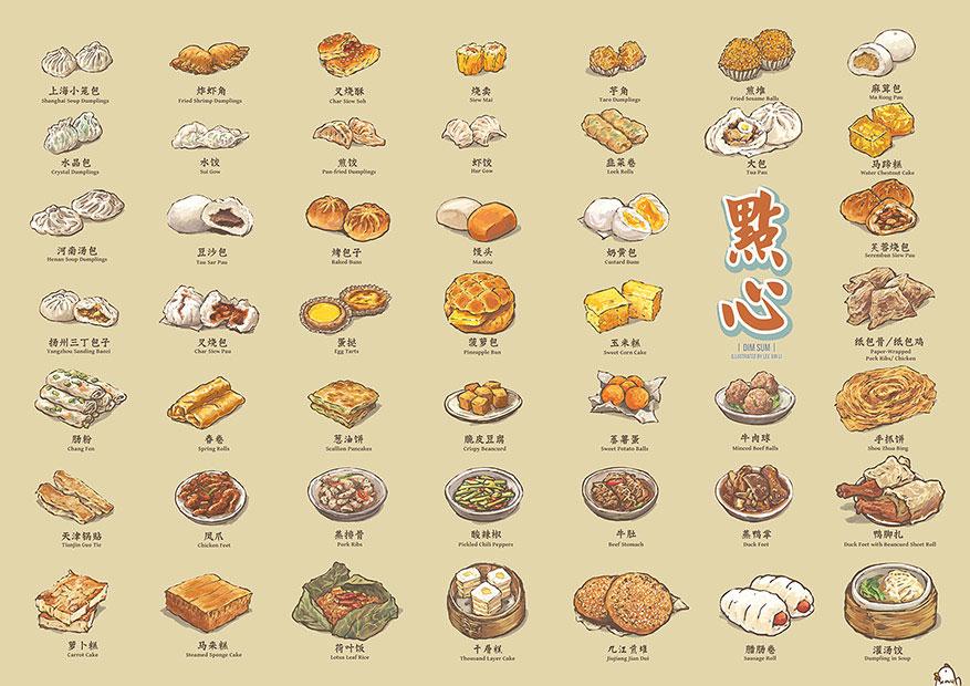 dimsum cibo cinese illustrazione