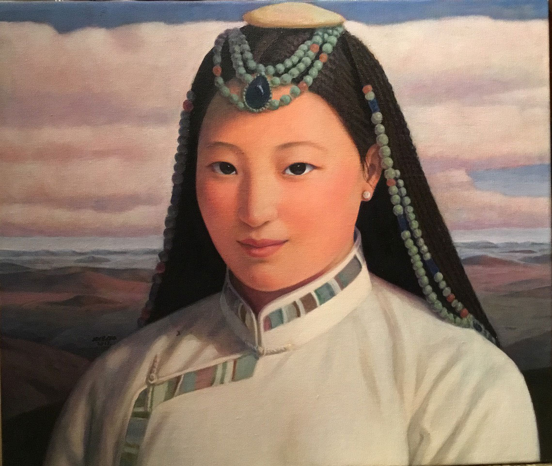 Mongolian Girl Series No.23., oil on linen, 72.5 x 61.5 cm, 2013, Karin Weber Gallery