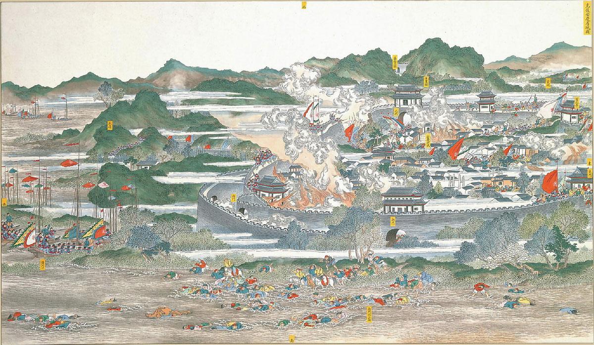 Un dipinto del 1884 della battaglia di Anqing (1861)