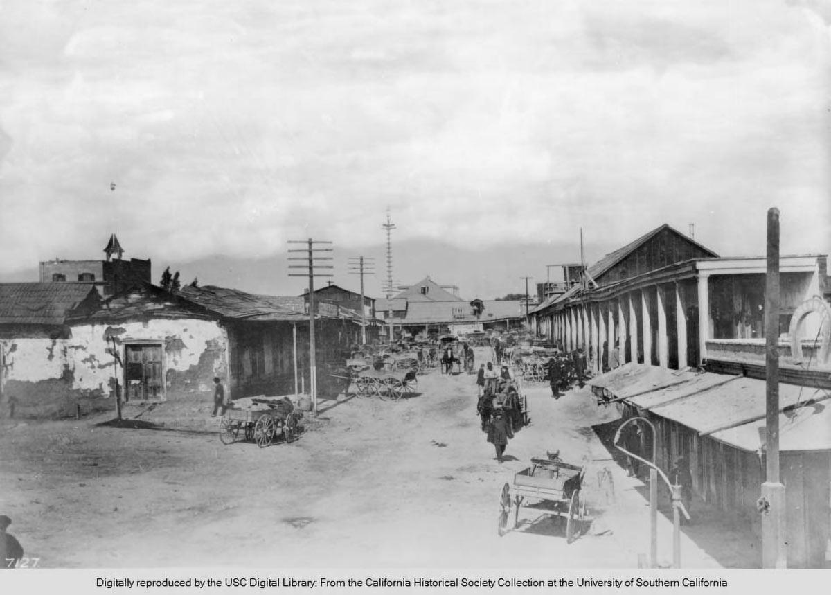 Vista di Calle de Los Negros guardando a nord di Los Angeles ca1882