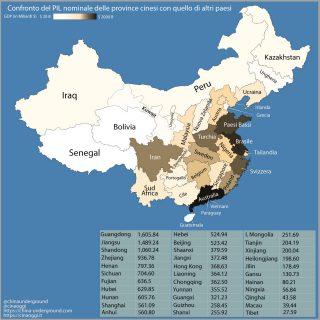Il PIL delle province cinesi paragonato a quello di altri stati