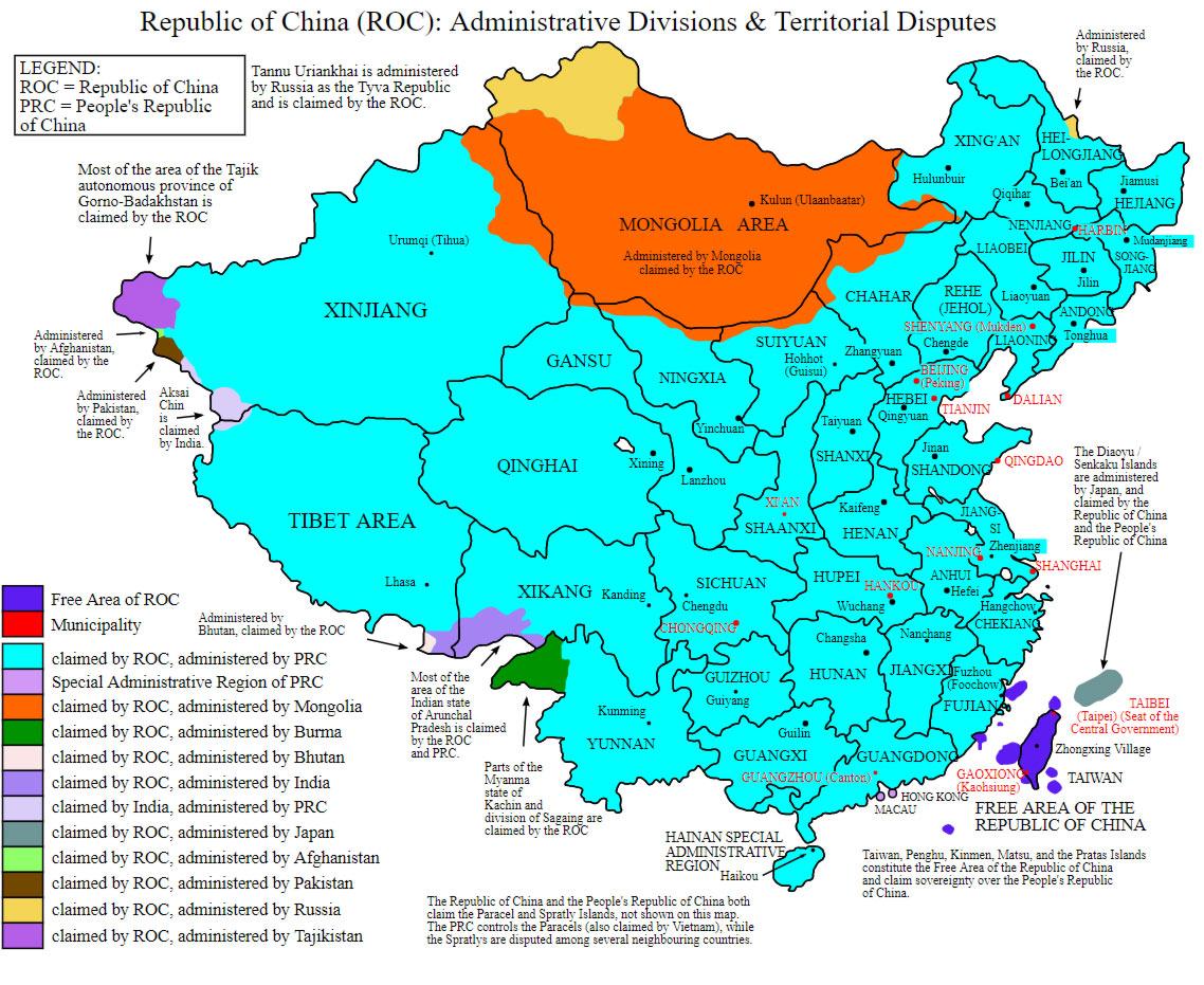 mappa rivendicazione cina taiwan